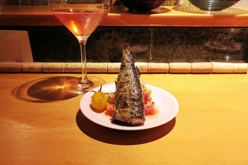 秋刀魚の炙り山椒焼き、みぞれトマト添え