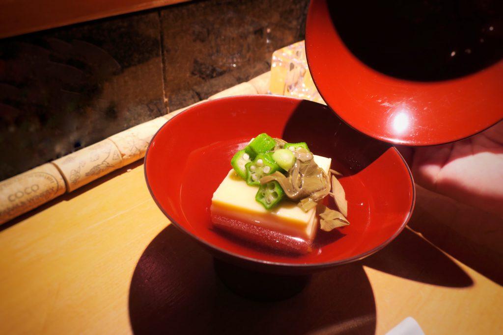 とうもろこし豆腐とジュンサイの椀