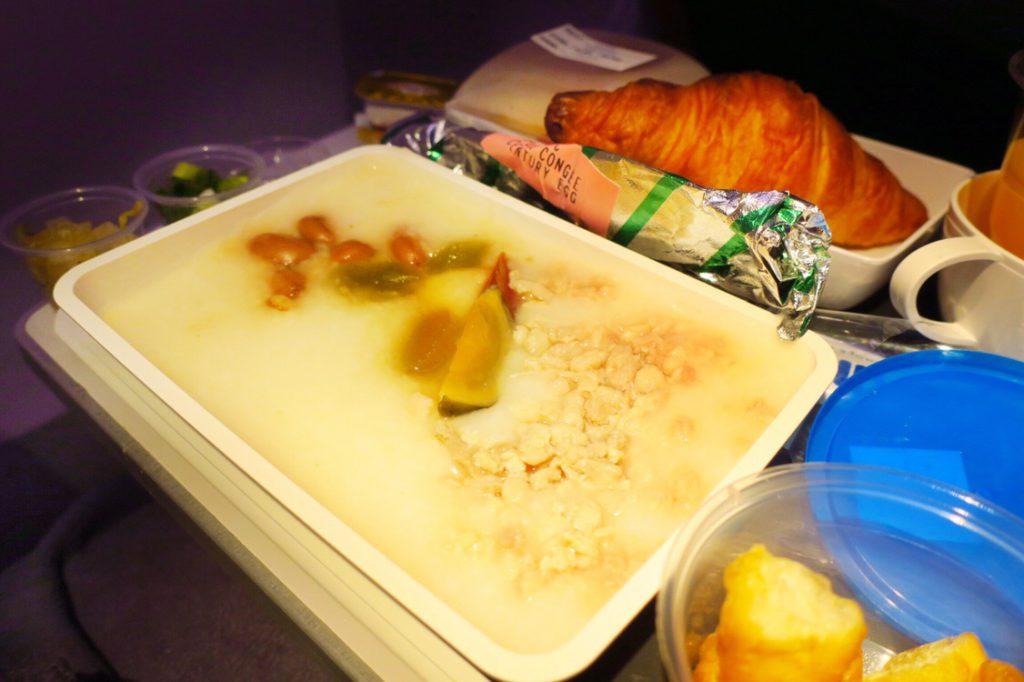シンガポール航空機内食ブックザクック 朝食限定メニュー 豚ひき肉とピータンのお粥