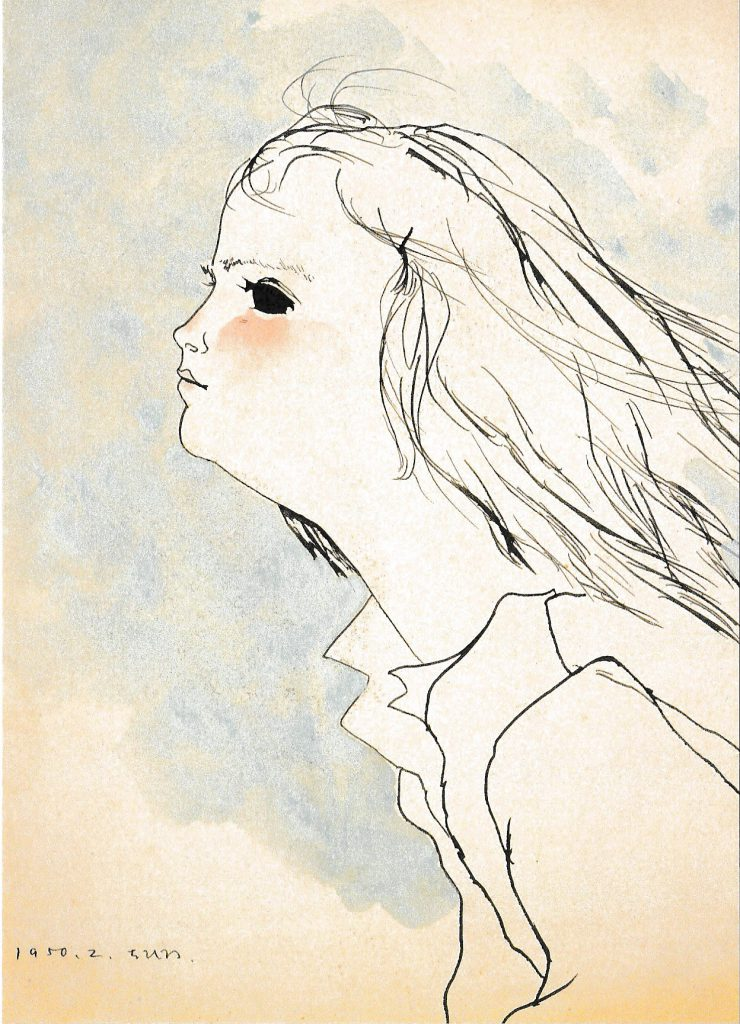いわさきちひろ 「髪をなびかせる少女」