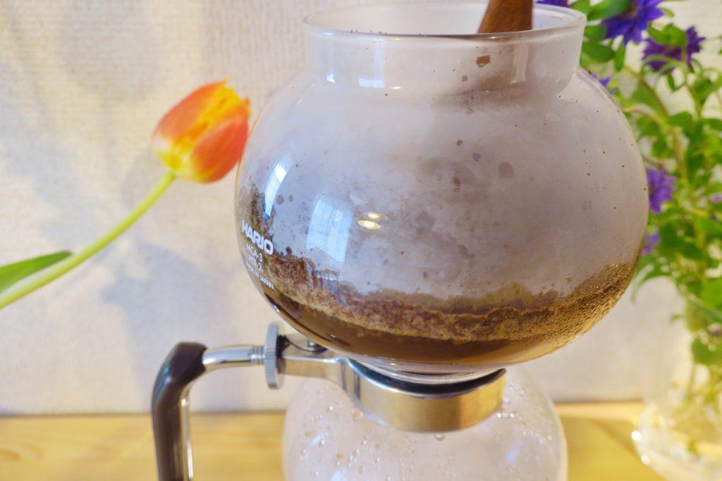サイフォンコーヒー攪拌の手順