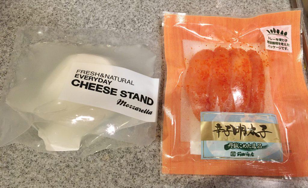 CHEESE STANDのフレッシュチーズと前田海産の明太子