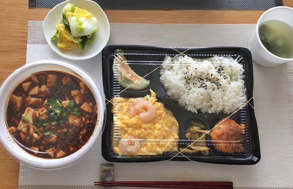 東十条土鍋・大餃子のエビたまご炒めと麻婆豆腐